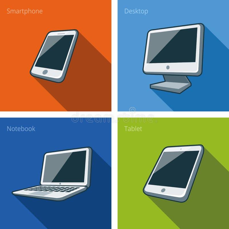 Parawanowi komputerowi przyrząda ilustracyjni z smartphone, laptop, mo ilustracji