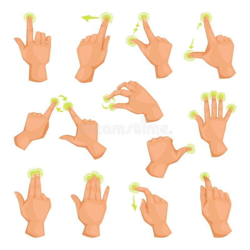 Parawanowy mobilny gadżetu ruch dotyka gesty klepnięcie i ręka dotyka telefonu komunikacyjnego ekranu sensorowego pastylki elektr royalty ilustracja