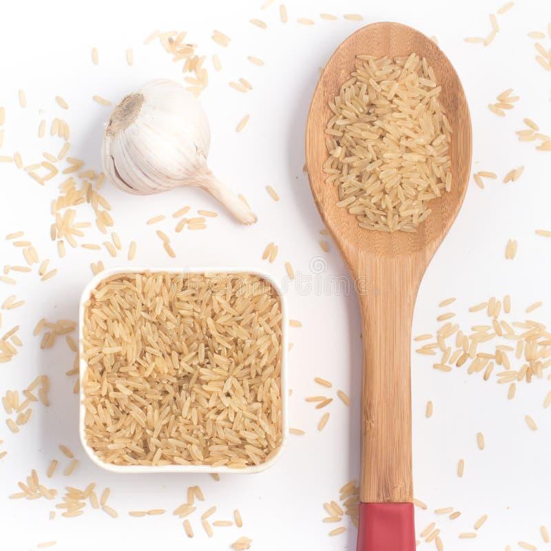 Parbolizado integrale di agulhinha del riso Riso sbramato intero fotografia stock