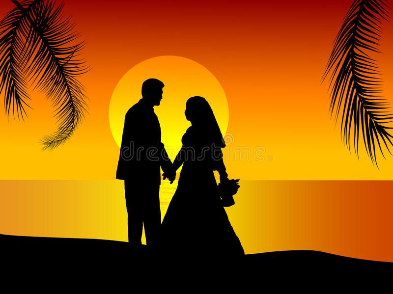 parbröllop royaltyfri illustrationer