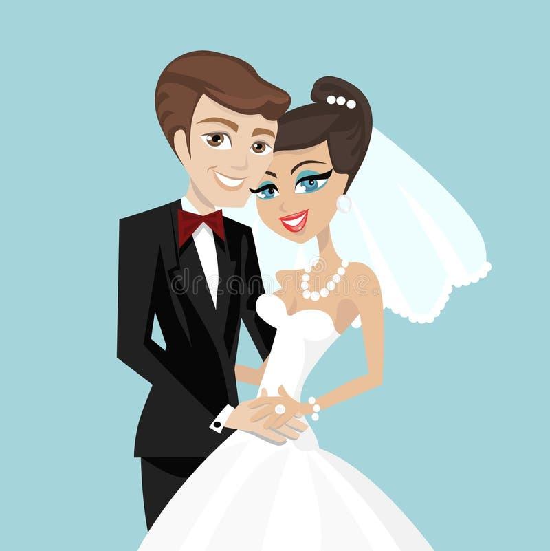 parbröllop vektor illustrationer
