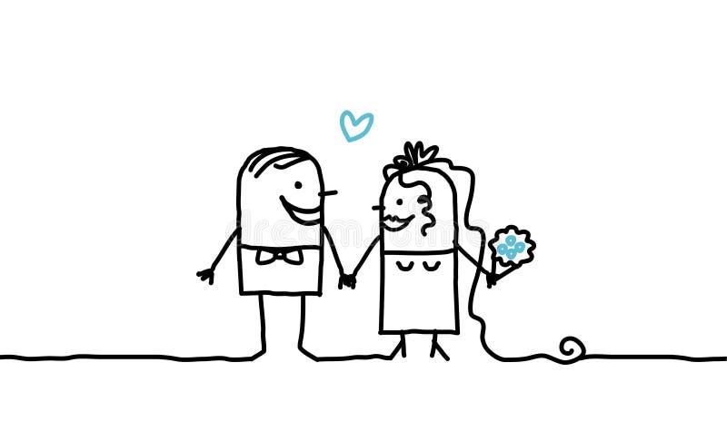 parbröllop stock illustrationer