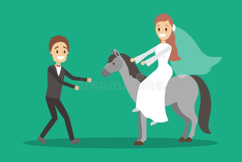 Parbröllop Brud med buketten och brudgum stock illustrationer
