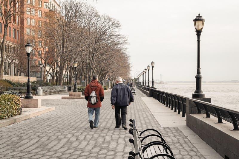 Parc à Manhattan à la rivière photographie stock libre de droits