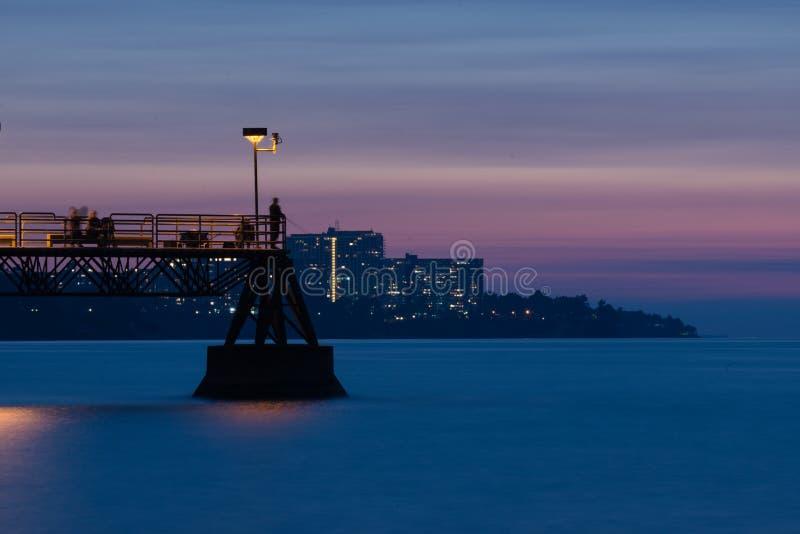 Parc aquatique de bord Cleveland Ohio au coucher du soleil photos libres de droits
