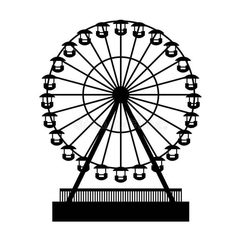 Parc Atraktsion Ferris Wheel de silhouette Vecteur illustration de vecteur