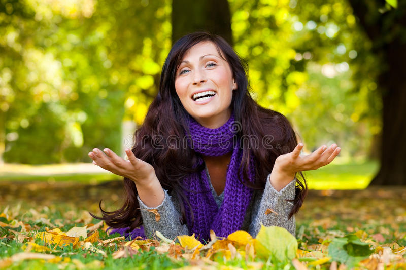 Parc autumn woman royalty free stock photography