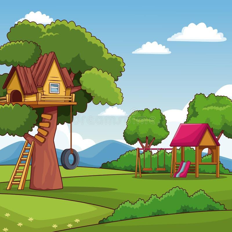 Parc avec la cabane dans un arbre et la maison de théâtre illustration libre de droits