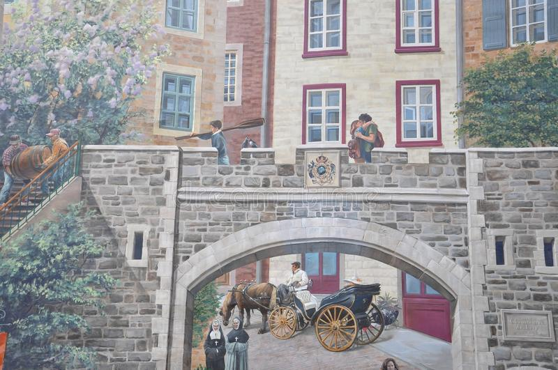 Parc Cetiere Fresco details from Rue Notre Dame of Old Quebec City in Canada. Fresque des Quebecois is a mural story of Old Quebec City in Canada on 28th June royalty free stock images