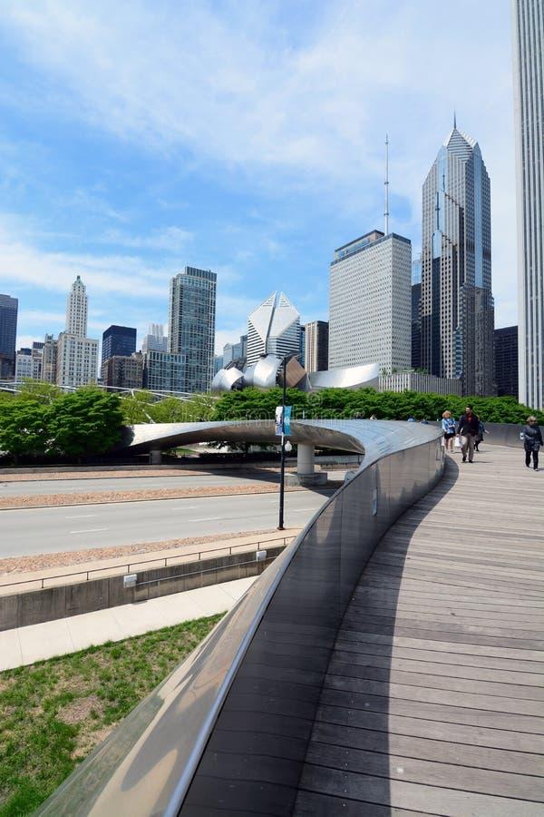 Parc Chicago de millénaire de pont piétonnier de BP photographie stock libre de droits
