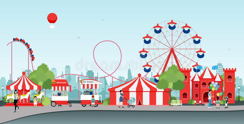 Parc d'attractions illustration stock