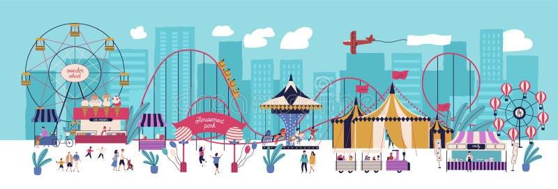 Parc d'attractions avec de diverses attractions, cirque, roue de ferris, carrousel, montagnes russes, kiosques avec des sucreries illustration libre de droits