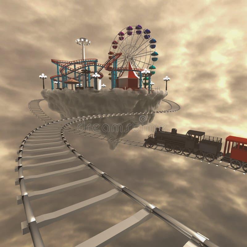 parc d'attractions 3d sur des nuages illustration libre de droits
