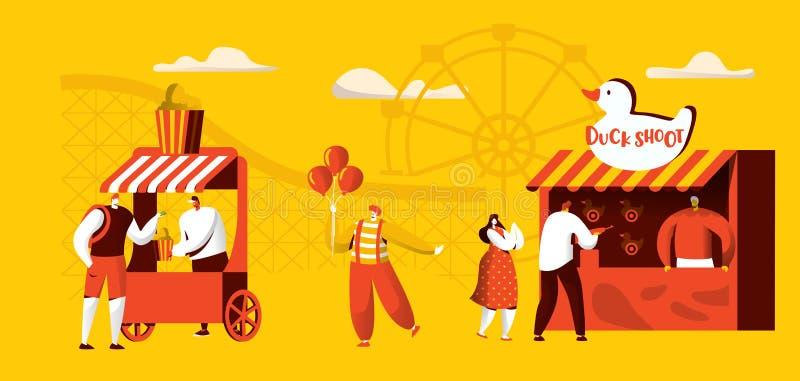 Parc d'attractions de calibre de bannière d'attractions Tours de caboteur, clown heureux Character de cirque avec le ballon diver illustration stock