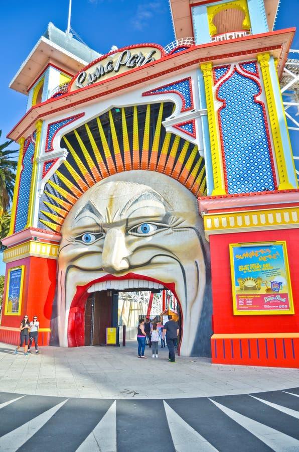 Parc d'attractions de Luna Park à St Kilda Beach à Melbourne photographie stock libre de droits