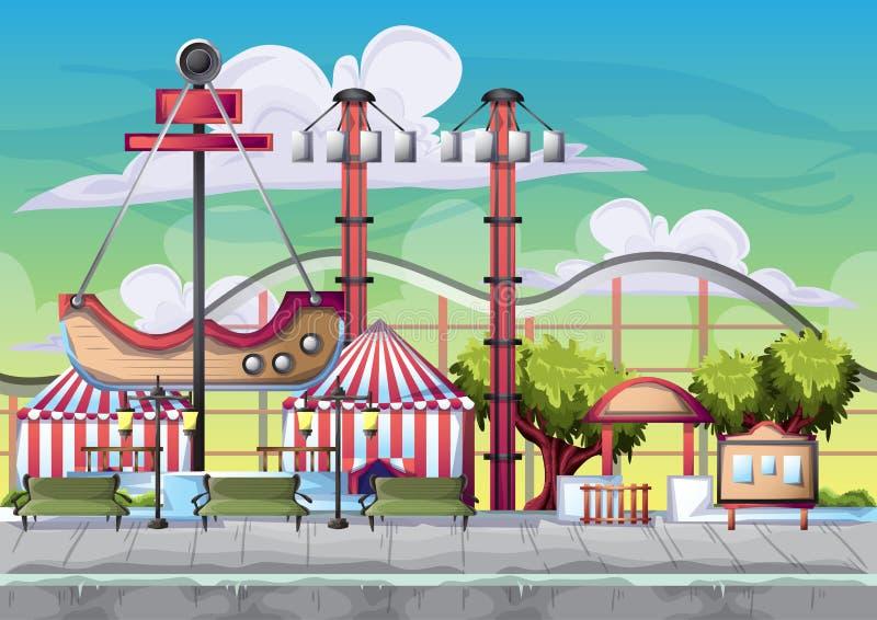Parc d'attractions de vecteur de bande dessinée avec des couches séparées pour le jeu et l'animation illustration libre de droits