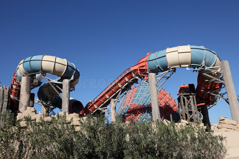 Parc d'attractions de Yas Waterworld en Abu Dhabi images libres de droits
