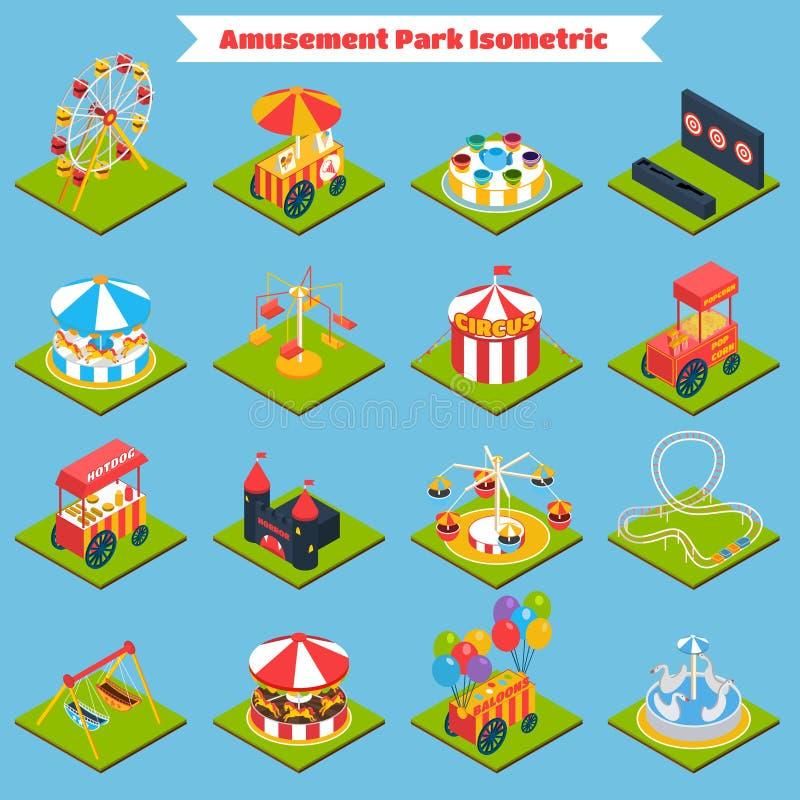Parc d'attractions isométrique illustration stock