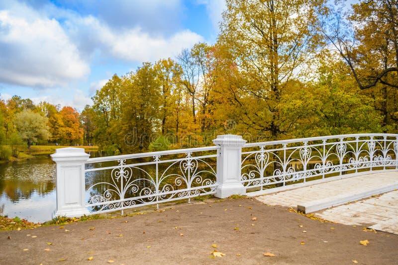 Parc d'automne avec le pont en bois blanc photos libres de droits