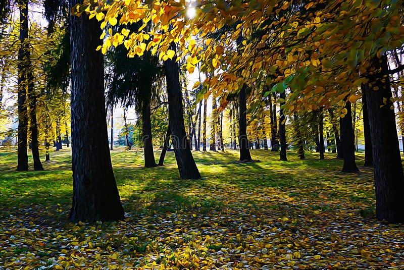 Parc d'automne Les rayons du soleil traversent le feuillage d'automne Fond de peinture à l'huile photographie stock libre de droits
