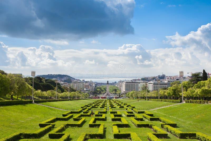 Parc d'Edouard VII à Lisbonne, Portugal photographie stock libre de droits