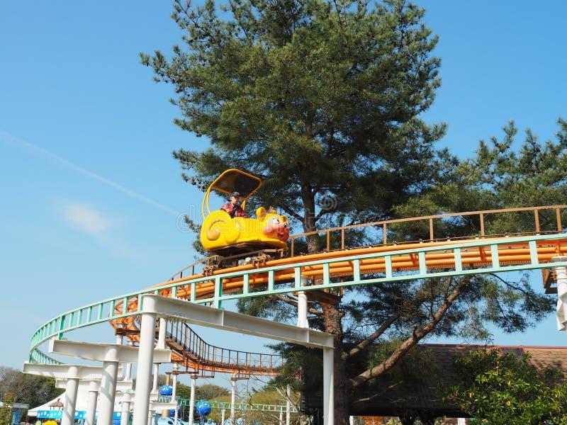 Parc de bord de la mer de Hitachi - tours de kiddie photo libre de droits