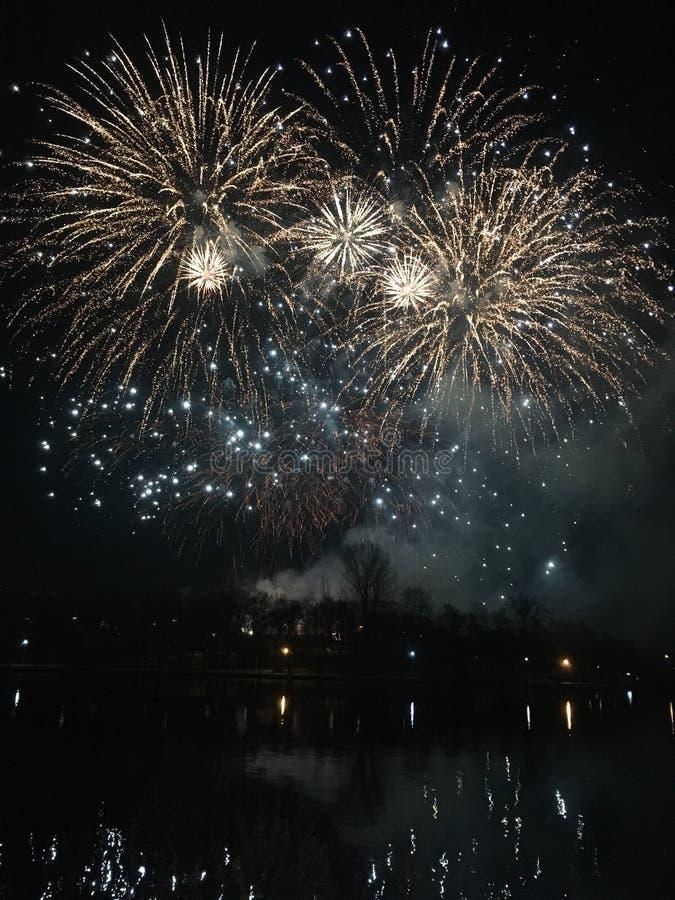 Parc de Bucarest-titan - nouvelle année 2018 de feux d'artifice photos libres de droits