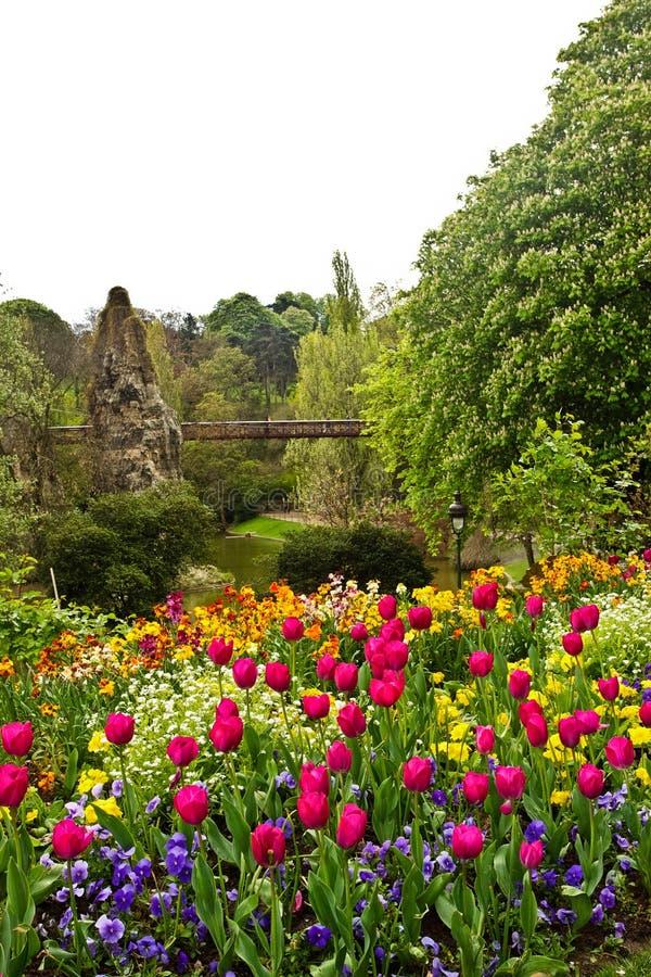 Parc de Buttes-Chaumont. Paris's Parc de Buttes-Chaumont in the spring royalty free stock images