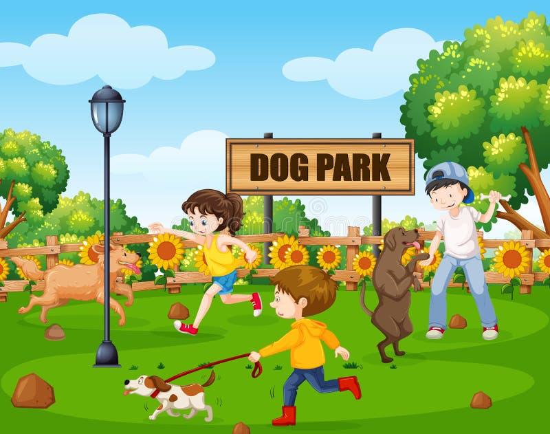 Parc de chien avec des personnes et leurs animaux familiers illustration libre de droits
