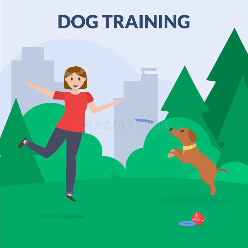 Parc de chien avec l'équipement de sport Femmes jouant le chien Cynology Vecteur plat illustration de vecteur