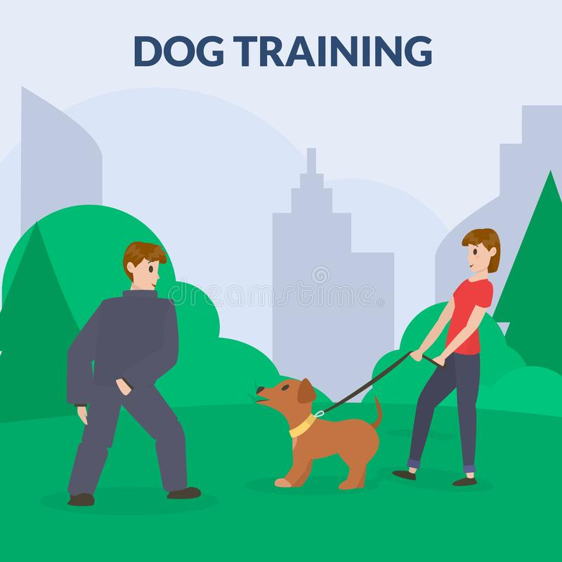 Parc de chien avec l'équipement de sport Un chien de formation de femme Cynology Chien d'écorcement, attaque Vecteur plat illustration stock