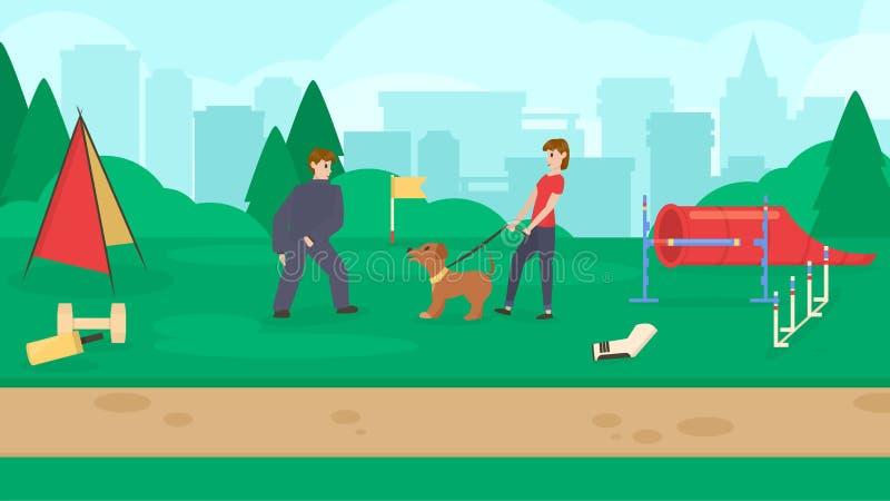 Parc de chien avec l'équipement de sport Un chien de formation de femmes Cynology Chien d'écorcement, attaque Vecteur plat illustration libre de droits