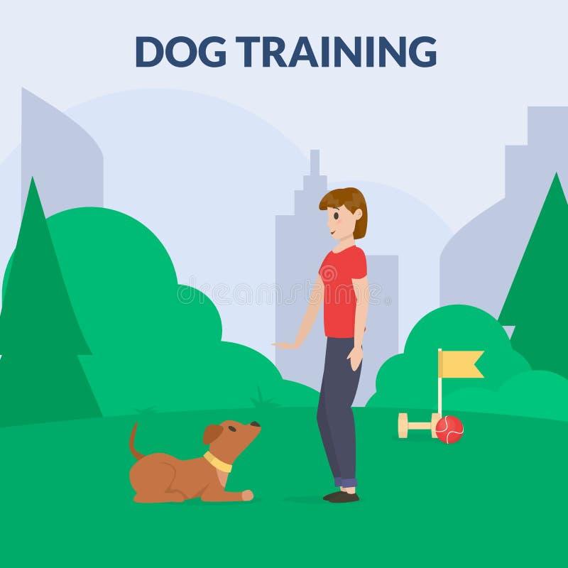 Parc de chien avec l'équipement de sport Un chien de formation de femmes Cynology La commande fixent Vecteur plat illustration de vecteur