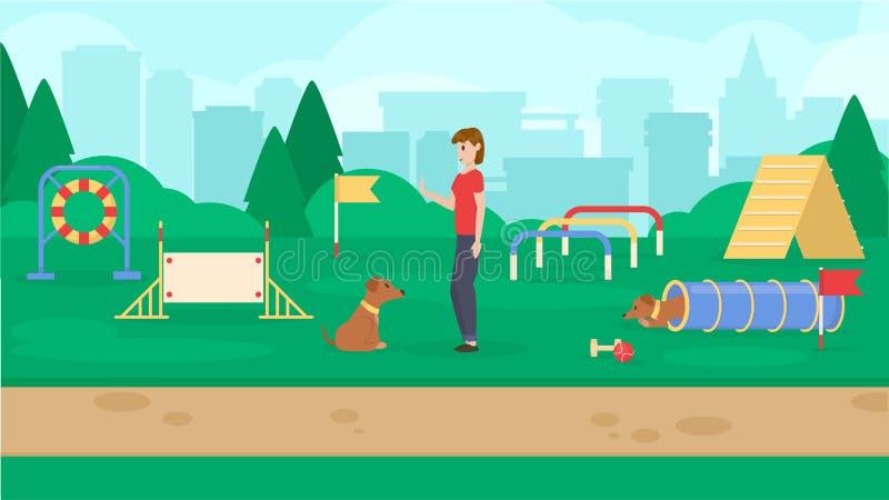Parc de chien avec l'équipement de sport Un chien de formation de femmes Cynology La commande se reposent Vecteur plat illustration stock