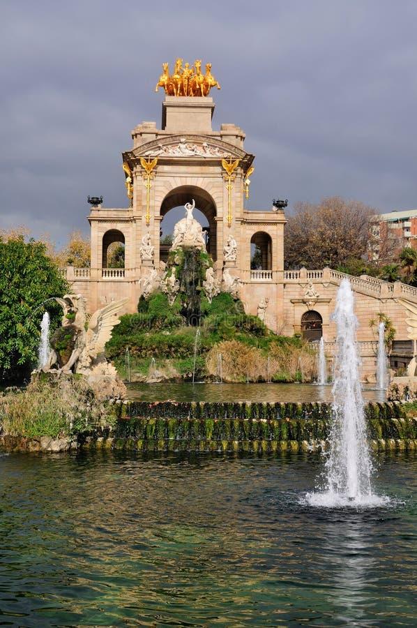 Parc de la Ciutadella, Barcelona. A picture of the enormous monumental fountain in Parc de la Ciutadella, a park in Barcelona royalty free stock images