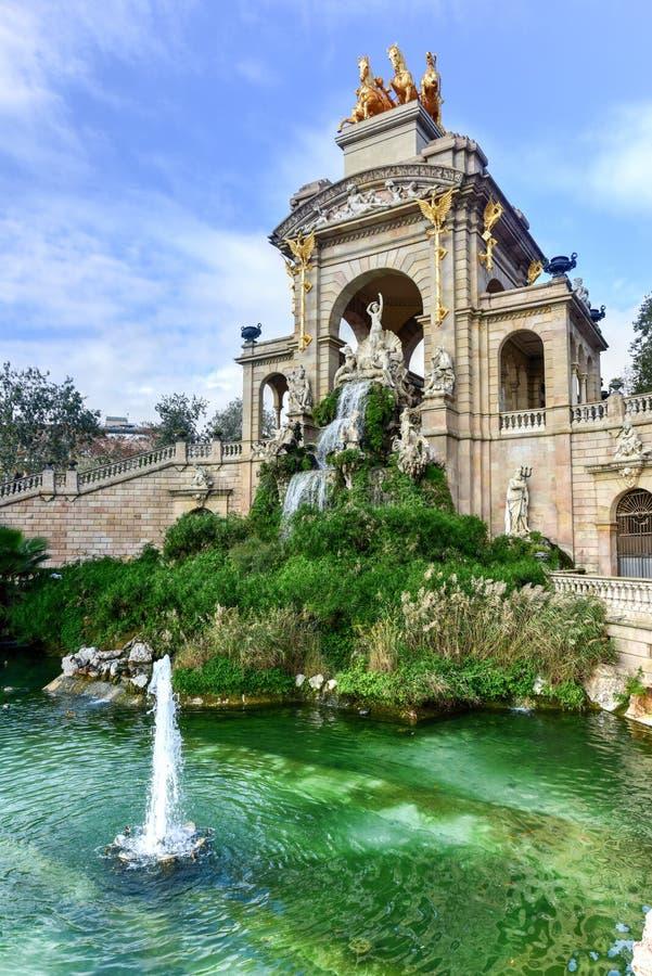 Parc de la Ciutadella - Barcelona, Spain. Fountain at the Parc de la Ciutadella. It is a park on the northeastern edge of Ciutat Vella, Barcelona, Catalonia stock photo