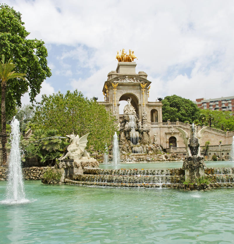 Parc de la Ciutadella Fountain, Barcelona. The Cascada (Waterfall) within the Parc de la Ciutadella (Park of the Citadel) which is topped by a golden quadriga of royalty free stock photo