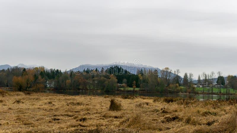 Parc de lac deer au jour pluvieux en novembre Burnaby la Colombie-Britannique Canada d'automne photo libre de droits