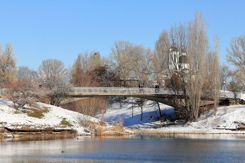 Parc de lac Druzba dans le jour d'hiver ensoleillé, Sofia, Bulgarie photo stock