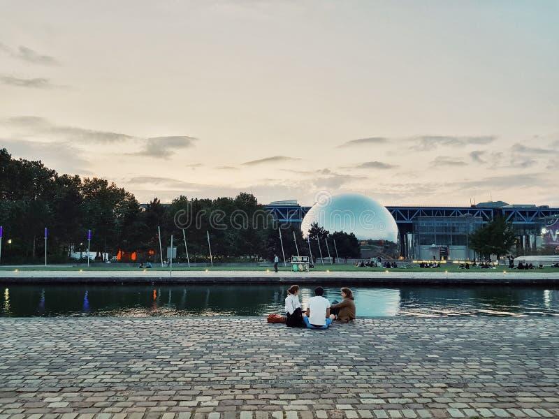 Parc De Los angeles Villette, deconstruction stylu park w postmodernistycznym okresie, Paryż, Francja obraz stock