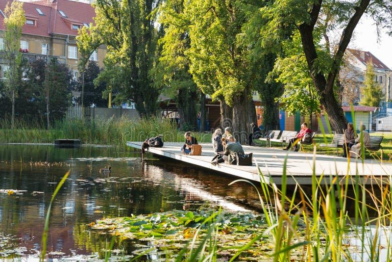 Parc de Mestsky ou de ville dans la vieille ville de Kosice, Slovaquie photo stock