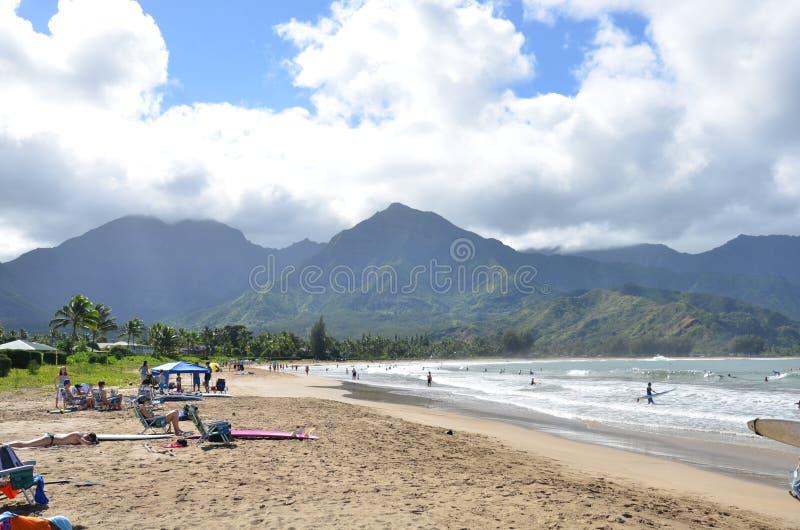 Parc de plage de baie de Hanalei photographie stock libre de droits