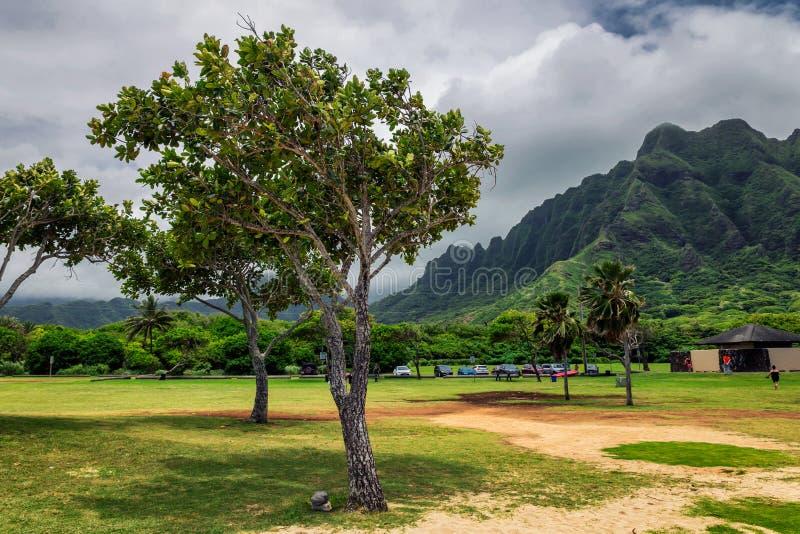 Parc de plage de Kualoa et gamme de montagne sur l'île d'Oahu image libre de droits