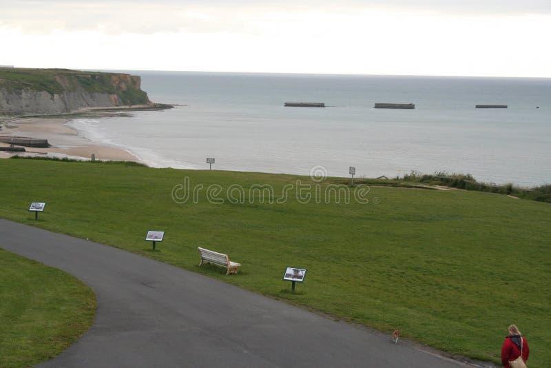 Parc de plage de la Normandie de la deuxième guerre mondiale photo libre de droits