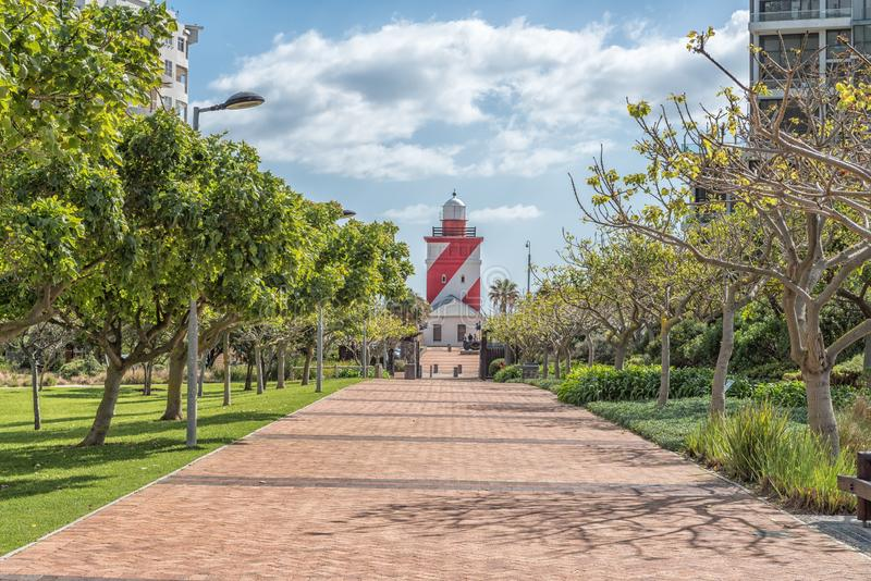 Parc de point et phare verts de Greenpoint à Cape Town photographie stock