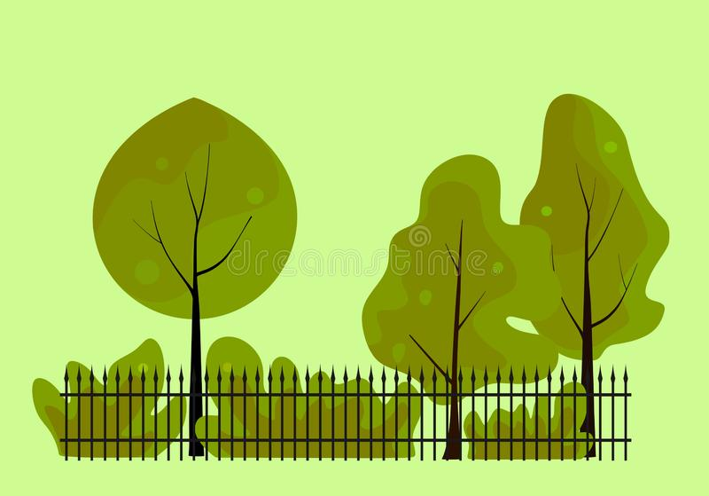 Parc de ressort - arbres avec la couronne, les buissons et la barrière verts illustration de vecteur