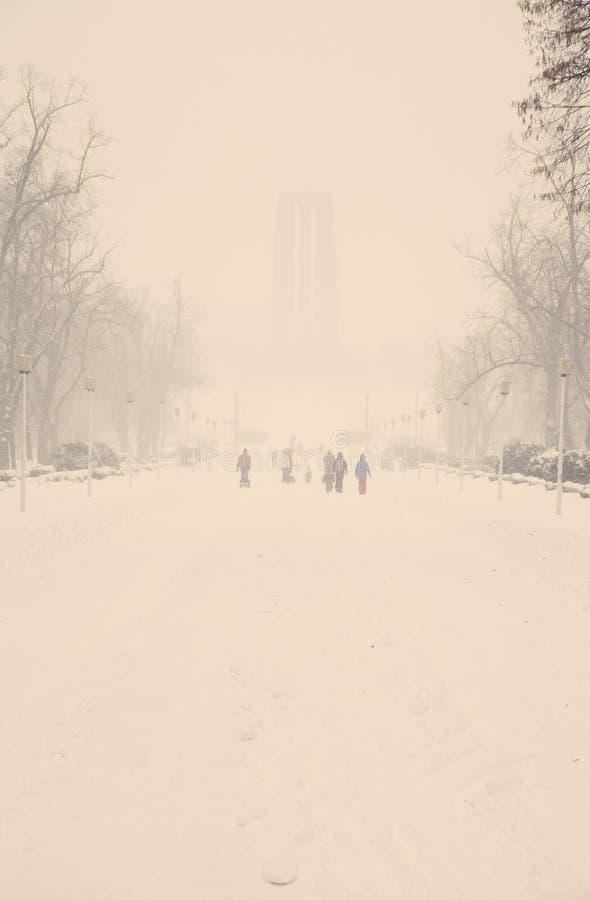 Parc de ville pendant une tempête récente de neige image stock
