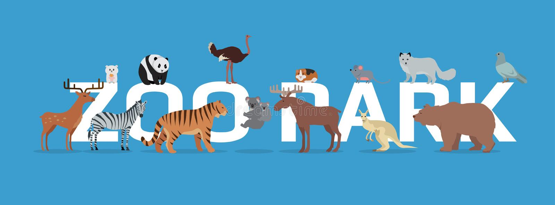 Parc de zoo avec la bannière d'animaux d'isolement illustration stock