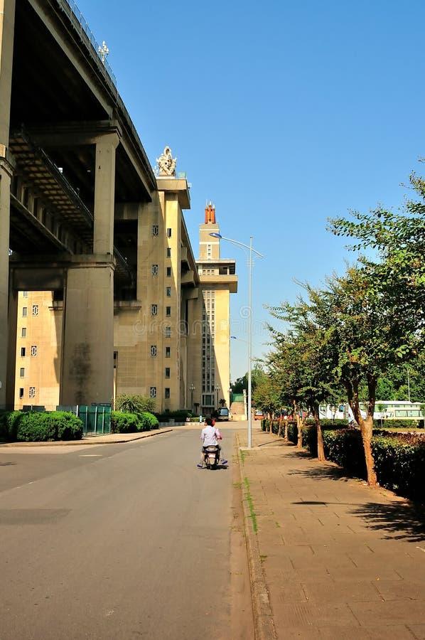 Parc du sud de fort de pont de Nanjing le fleuve Yangtze photos stock