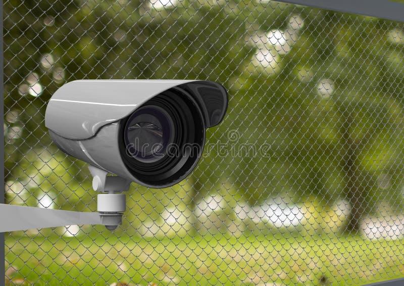 parc et barrière brouillés par sécurité, télévision en circuit fermé images libres de droits